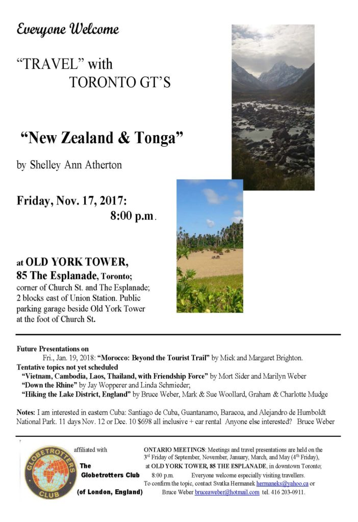 "Shelley Ann Atherton presents ""New Zealand and Tonga"""